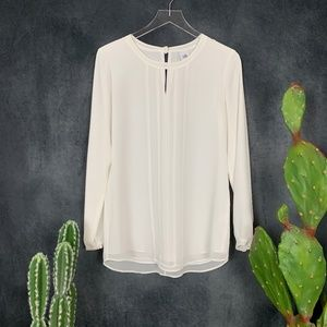 CAbi Tops - CAbi Entice Blouse #3150 White Lined Top Shirt S